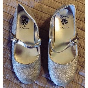 Girls sparkly silver glitter Mary Jane flats